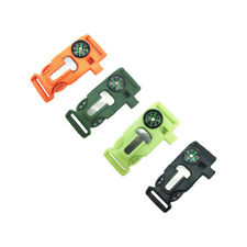 (5pcs)   4 in1 Outdoor Survival Kits Flint Scraper Compass Whistle Buckle
