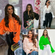 Women Ladies Frill Ruffle Balloon Sleeve Tie Front Shirt Ruched Sheer Blouse Top
