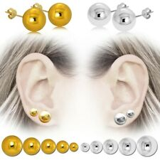 Earrings Balls Chopped 12MM Solid Silver 925//1000 Rhodium Jewelry