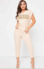 Women Ladies Vogue Short Sleeve Boxy Lounge Wear Tracksuit Set Casual Comfy vg23