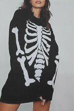 Womens Ladies Skeleton Bones Halloween Over Size Baggy Knitted Jumper Dress Top
