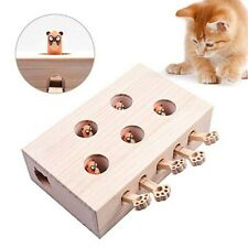 Cat Interactive Toy Cat Funny Hunt Toy Wooden Whack Game Puzzle Toy 5 Holes