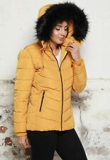 Womens Ladies Poppy Quilted Hooded Puffer Coat Faux Fur Hooded Zip Winter Jacket