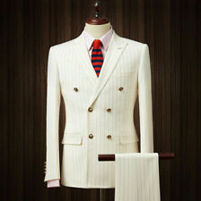 Men Wedding Groom Tuxedos Gold Striped 3 Piece Suits Double-breasted Peak Lapel