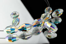 Swarovski 5200 9mm x 6mm Crystal AB Faceted Oval Beads (1 Pc)