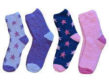 Womens Soft Fleece Bed Socks Slenderella Plain & Star Pattern 2 Pairs One Size