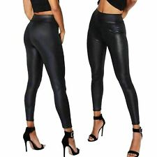 WOMEN Wet Look PU PVC Shiny Paper Bag Faux Leather Look Trousers Pant Joggers