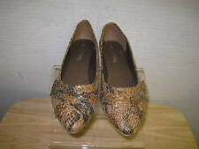 LADIES SPOT ON TAN SNAKE FLATS