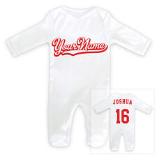 PERSONALISED NAME 2-Sided Sports Baby SleepSuit Romper