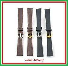 Extra Long 14mm Black or Brown Leather Watch Strap, Strong, Choice of Buckle!