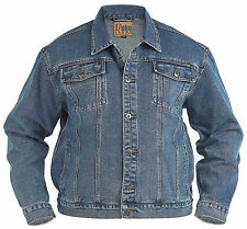 New Mens Quality Denim Trucker Jacket Stonewash Blue