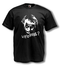The Joker why so serious? t shirt Heath Ledger 18 flock glitter colour variation