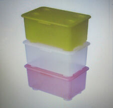 3 Pieces IKEA GLIS KIDS/ KITCHEN STORAGE BOX with Lid - CHOOSE YOUR COLOUR SET