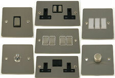 G&H Flat Plate Brushed Steel Light Switches, Plug Sockets & Dimmer Switches