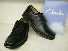Clarks Hoist Cap Black Leather Smart Oxford Lace Up Shoes