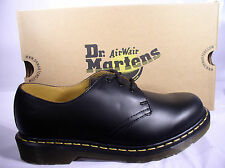DR. MARTENS 1461 BLACK LEATHER CLASSIC SHOES  YELLOW STITCHING 3 - 12