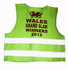 WALES GRAND SLAM WINNERS 2012 new high vis viz  kids childs  babys safety  vest