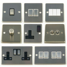 G&H Brushed Chrome Steel Rocker & Toggle Light Switches, Plug Sockets & Dimmers