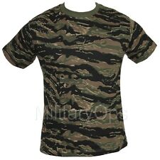MILITARY WOODLAND TIGER STRIPE CAMOUFLAGE CAMO T SHIRT US ARMY 100% COTTON
