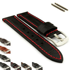 Genuine Leather Watch Strap Band Croco Grand Panor SS. Buckle Spring Bars