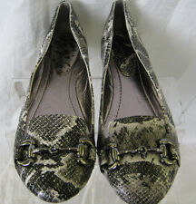 LADIES SPOT ON F8782 DARK GREY SNAKE PRINT FLAT SHOES