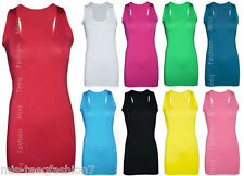Womens Bodycon Racer Back Muscle Vest Long Tank Top Sleeveless UK 8 10 12 14