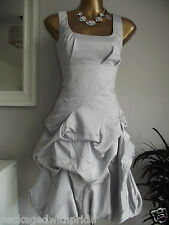 MONSOON SILVER CARMEL RUFFLE PARTY COCKTAIL PROM SUMMER WEDDING DRESS & BAG