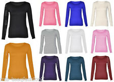 Womens Long Sleeved Tops Stretch Plain Round Scoop Neck T-Shirts Plus Size 8-28