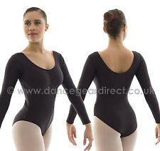 Ladies Long Sleeved Dance Ballet Leotard Black Shiny Nylon Lycra Adults NEW