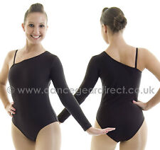 Girl's / Ladies Dance Leotard with one long sleeve Nylon Lycra Black Adults KIRS