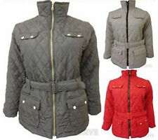 NEW LADIES PLUS SIZE PADDED JACKETS WOMENS BELTED QUILTED COATS 18 20 22 24