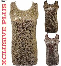 NEW LADIES GOLD SILVER SEQUINS STITCHED MINI GOING OUT VEST DRESS  8 10 12 14
