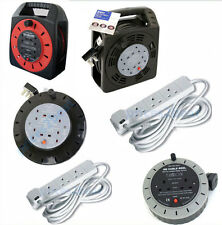 2 WAY 5M 10M 25M 4 GANG CABLE REEL EXTENSION LEAD 10 13 AMP SOCKET CUT OUT MAINS