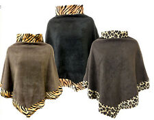 LADIES PLUS SIZE FUR LEOPARD COWL NECK PONCHS WOMENS FUR CAPE JUMPERS COATS16-26
