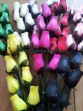 Bunch Of 8 Wooden Rose Stems - Mixed Colours And Qtys - Quality Flower Display