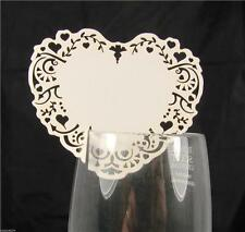 10 Place Cards For Glass Decoration Wedding Party Table Favours White or Ivory