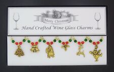 Silver Or Gold Christmas Wine Glass Charms Gift Stocking Filler Party Present