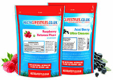 Raspberry Ketone capsules + Acai Berry Colon Cleanse combo - 5x strength Ketone
