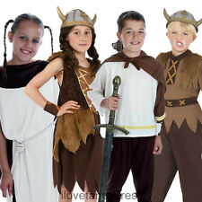 VIKING COSTUME CHILDS SCHOOL CURRICULUM MEDIEVAL FANCY DRESS BOYS GIRLS S M L XL