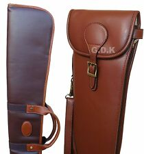 DARK BROWN LEATHER SHOTGUN SLIP, &, OR LEATHER SHOTGUN POUCH, SHOTGUN CASE