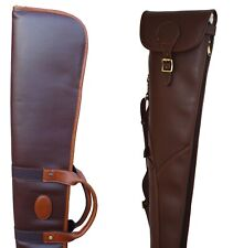 DARK BROWN PU LEATHER SHOTGUN SLIP, &, OR LEATHER SHOTGUN POUCH, SHOTGUN CASE