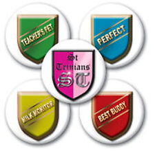 Pack of 5 St Trinians School Pin Badges for Fancy Dress School Girl Outfits
