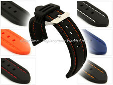 Mens Silicon Rubber Waterproof Divers Watch Strap Band Spring Bars 20 22 24mm