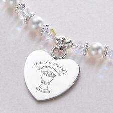 First Holy Communion Necklace for Girl. Personalised Engraving. Chalice & Host.
