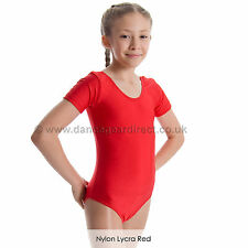 Girls Short Sleeve Plain Ballet Dance Gymnastics Leotard Shiny Nylon Lycra TAMMY