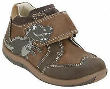 Boys Clarks Brown Leather Riptape Strap Dinosaur Ankle Boots SAURUS REX