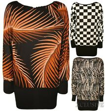 LADIES PLUS SIZE FEATHER SNAKE SKIN CHECK BLOCK BATWING SLOUCH DRESS TOP 14-28