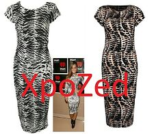 H2CD NEW WOMENS CELEBRITY CAP SLEEVE ZEBRA AND SNAKE MIDI DRESS MUST HAVE