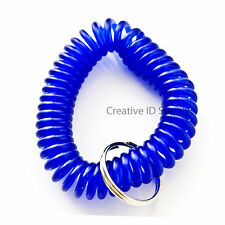 WHOLESALE 12 24 50 100 PCS SPIRAL WRIST COIL KEY CHAIN KEY RING HOLDER BLUE