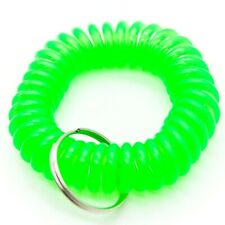 WHOLESALE 12 24 50 100 PCS SPIRAL WRIST COIL KEY CHAIN KEY RING HOLDER GREEN